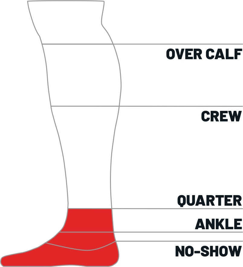 Kane Sock size height guide for quarter