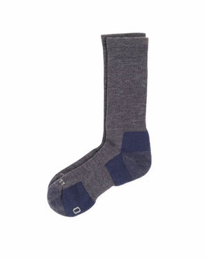 mens crew sock in heather blue, laid flat
