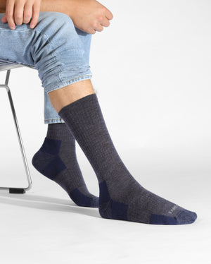 mens heather blue sock, crew height, lifestyle image.