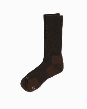 mens crew sock in heather brown, laid flat