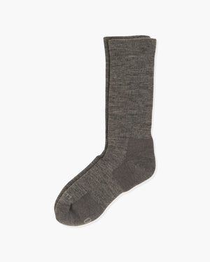 mens crew sock in heather grey, laid flat