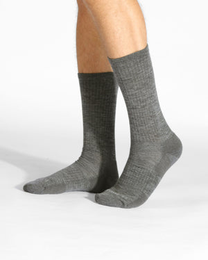 mens heather grey sock, crew height, on feet.