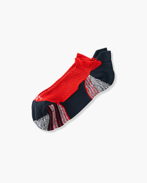 mens ankle sock in red laid flat