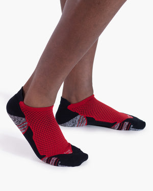 mens ankle sock in red on feet