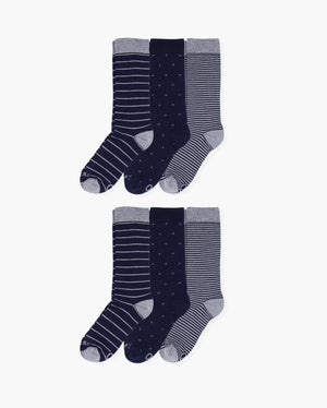 Mens 6 pack of crew socks. Two pairs of each colorway: navy big stripes, navy foulard, small navy stripes.