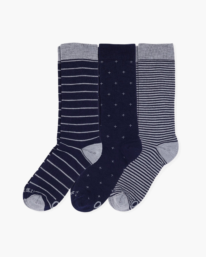 Mens 3 pack of crew socks. One pair of each colorway: navy big stripes, navy foulard, small navy stripes.