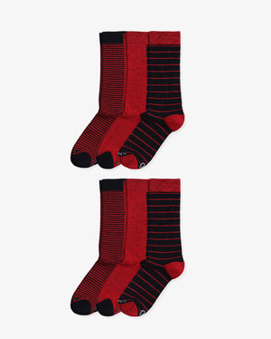 Mens 6 pack of crew socks. Two pairs of each colorway: Small Stripe, Red, Big Stripe.