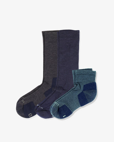 Men's explorer mix 3 pack. One of each: Alpine heather blue, Juno navy, Sierra heather blue.