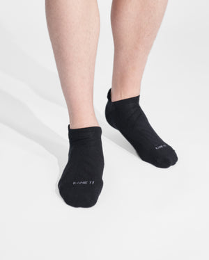 mens ankle sock in black on feet
