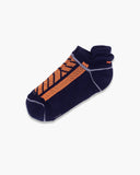 mens ankle sock in navy with neon orange laid flat