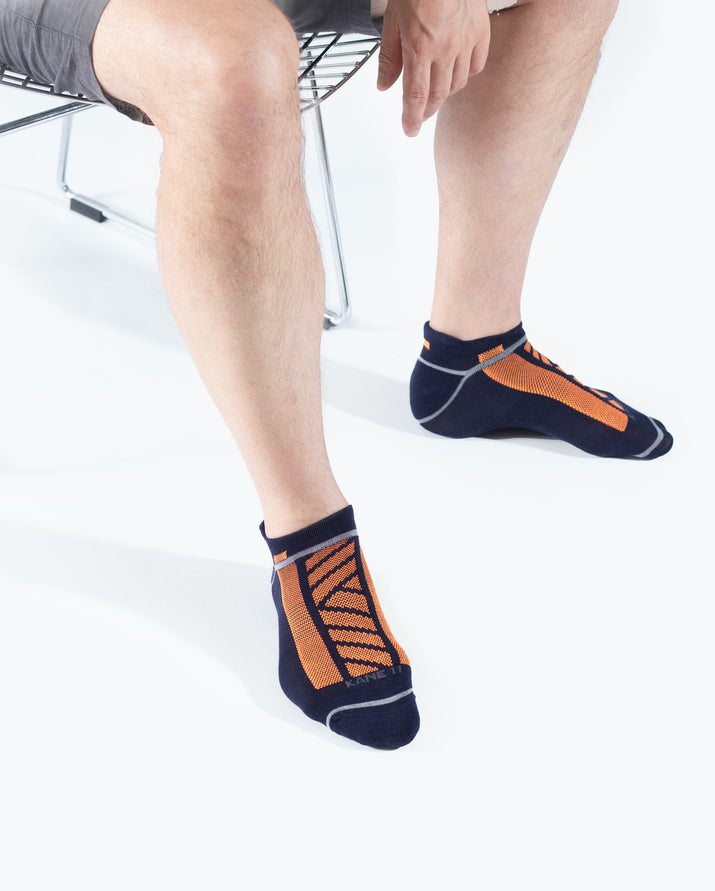 mens ankle sock in navy with neon orange style