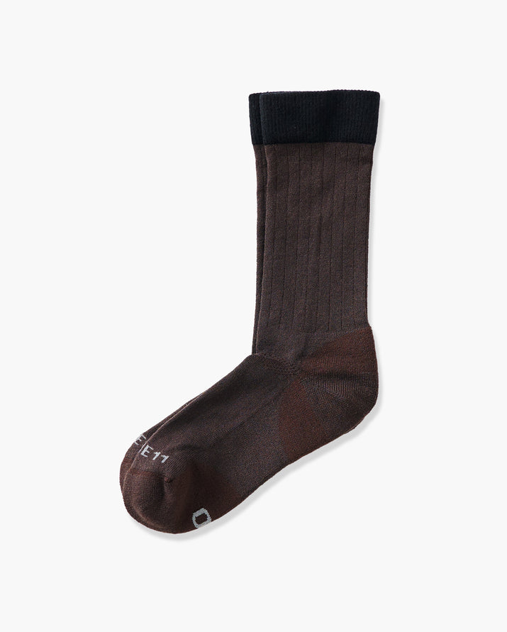 mens crew sock in brown laid flat