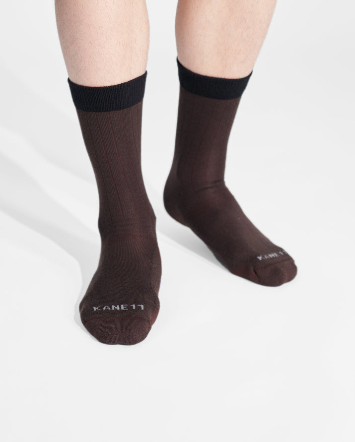 mens crew sock in brown on feet