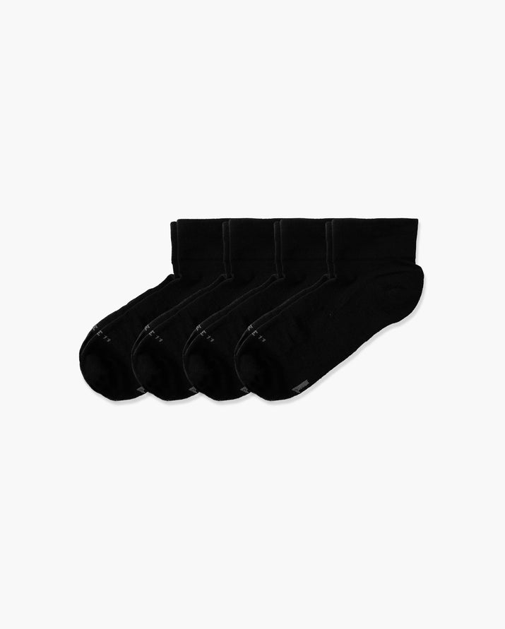 mens quarter sock in a 4 black pack