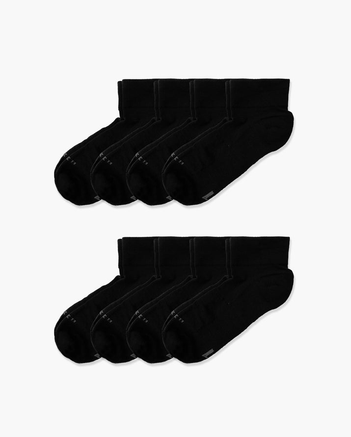 mens quarter sock in a 8 black pack