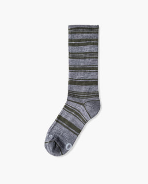 mens crew sock in loden laid flat