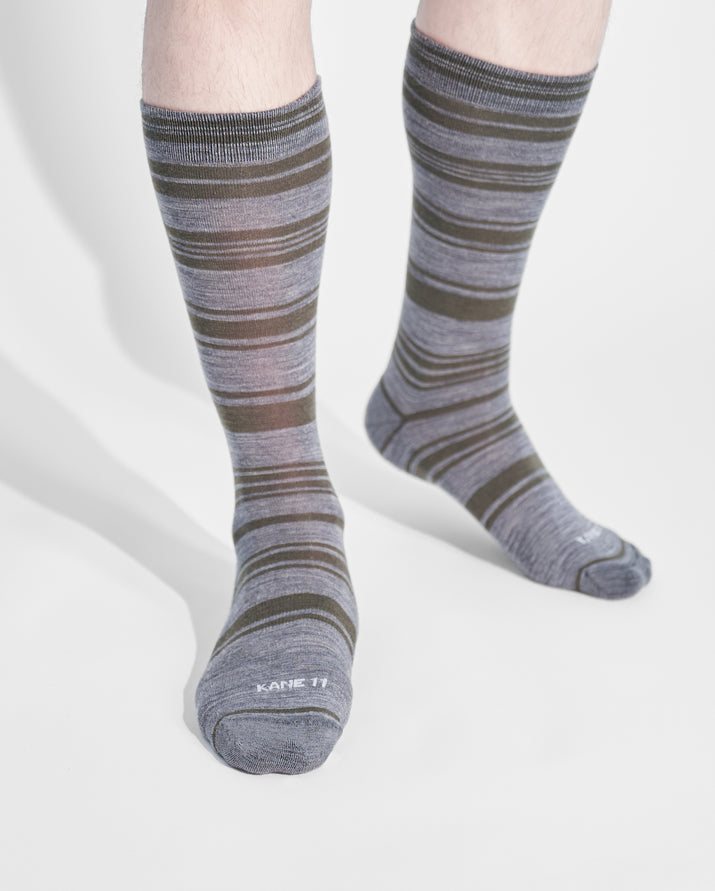 mens crew sock in loden on feet