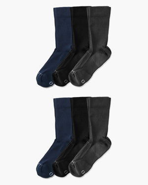 Six mens crew socks in a mix pack