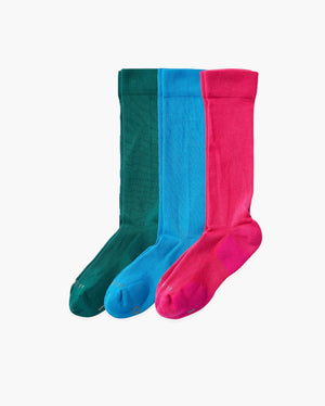 Mens 3 pack of over the calf socks. One pair of each colorway: evergreen, sky blue, hot pink.