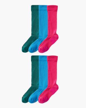 Mens 6 pack of over the calf socks. Two pairs of each colorway: evergreen, sky blue, hot pink.