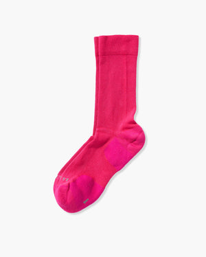 mens crew sock in hot pink laid flat