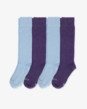 Mens 4 pack of over the calf socks. Two pairs of each: light blue, purple.