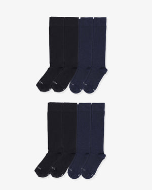 Mens 8 pack of over the calf socks. Four pairs of each: black, navy.