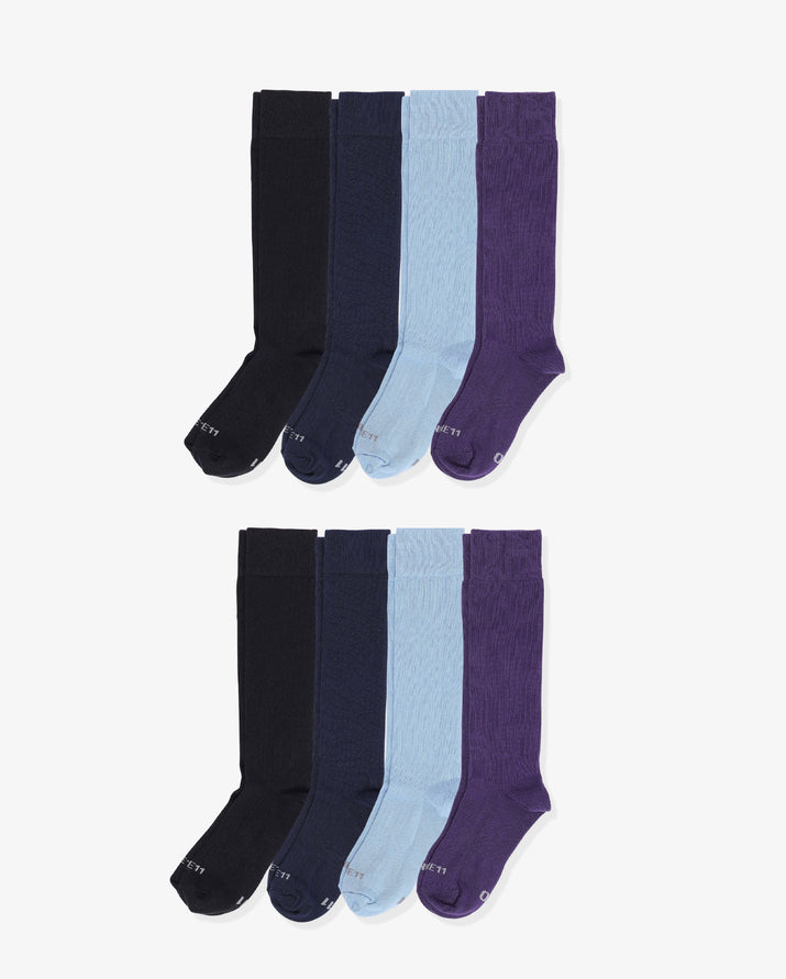 Mens 8 pack of over the calf socks. Two pairs of each: black, navy, light blue, purple.