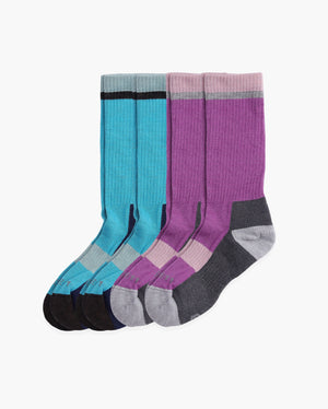 Womens 4 pack of crew socks. Two pairs of each color: 1. Teal with navy and dark grey. 2. lilac with heather greys.