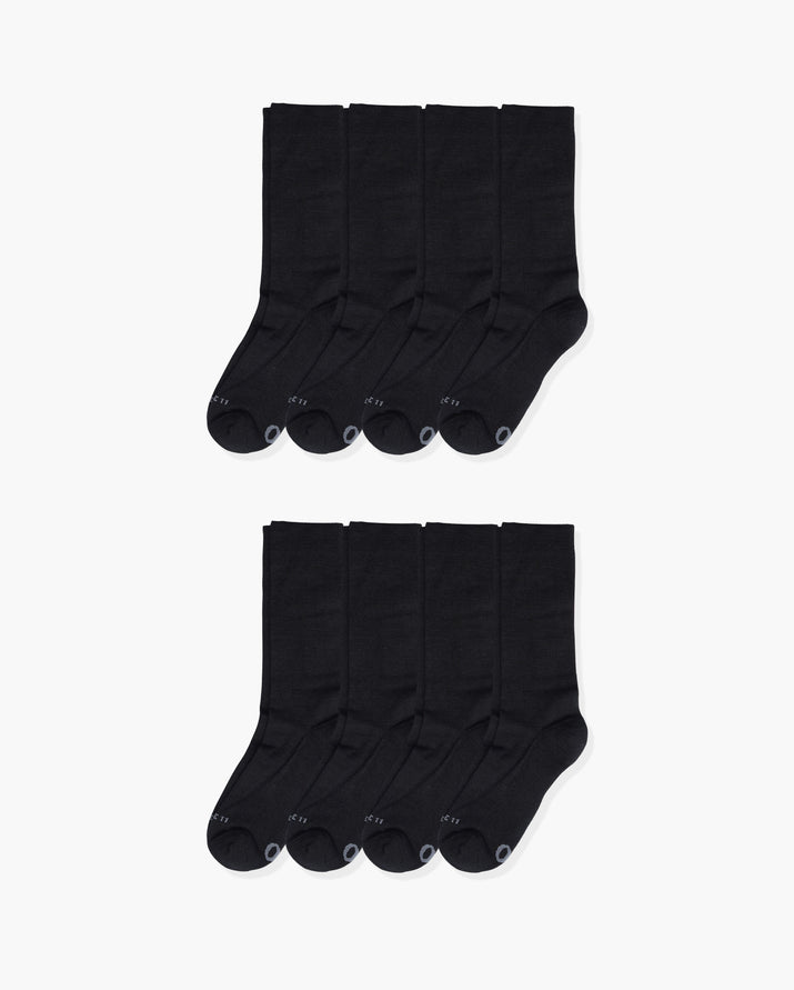 mens crew sock in a 8 black pack