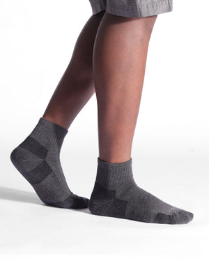 mens quarter sock in charcoal grey style