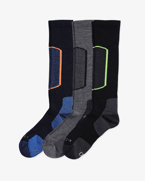 Mens 3 pack of over the calf ski socks. One pair of each color way: navy, heather grey, black.
