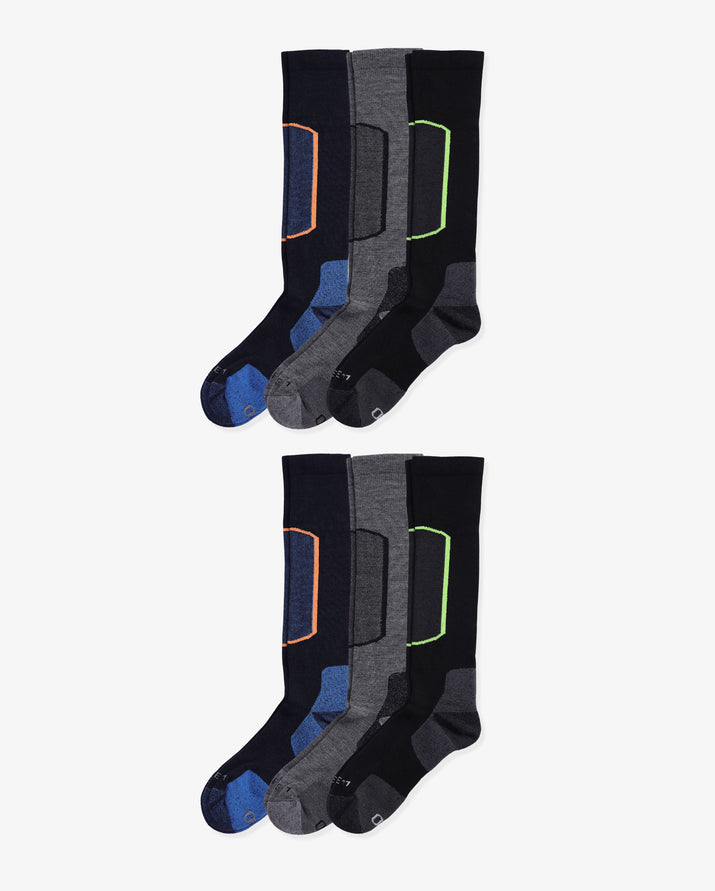 Mens 6 pack of over the calf ski socks. Two pairs of each color way: navy, heather grey, black.