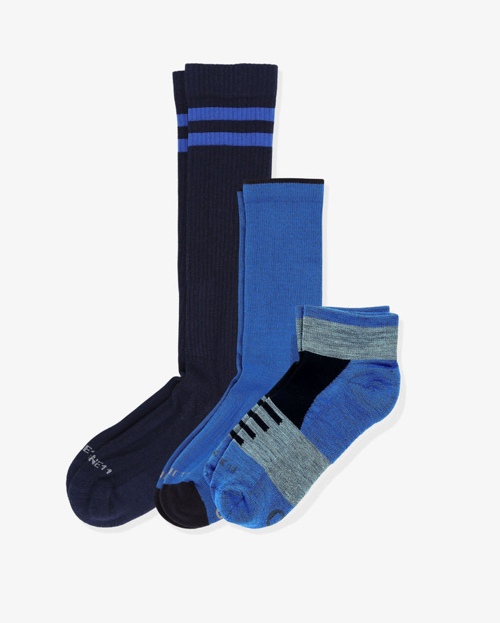 Men's trendsetter mix 3 pack. One of each: Wilt navy, Newport royal blue, Laguna royal blue with black and grey.