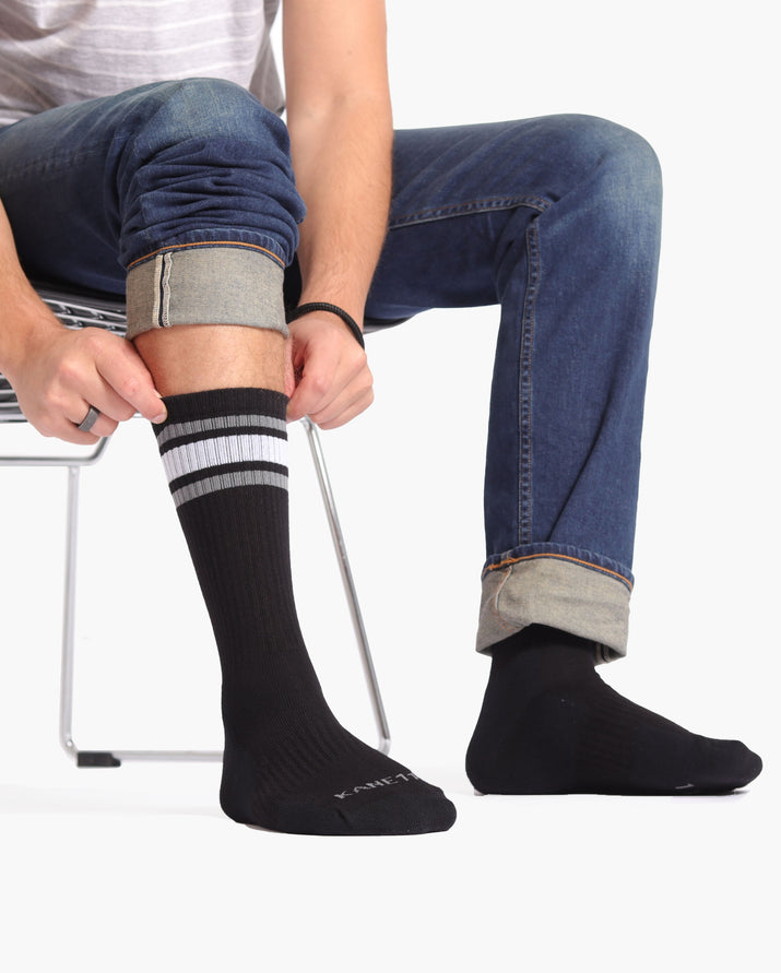 mens crew sock in black with granite and white stripe lifestyle