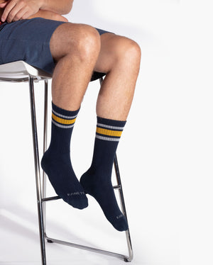 mens crew sock in navy with yellow and light grey stripe style