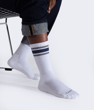 mens crew sock in white with navy and granite stripe style
