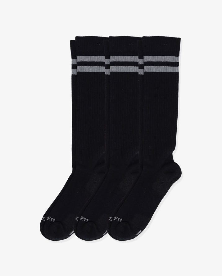 Mens 3 pack of over the calf socks. Three pairs of: black with grey.