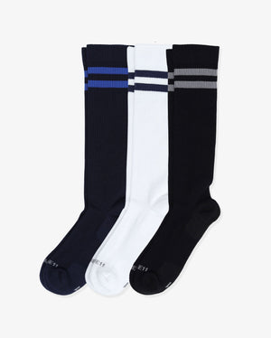 Mens 3 pack of over the calf socks. One pair of each: navy with royal blue, white with navy, black with grey.