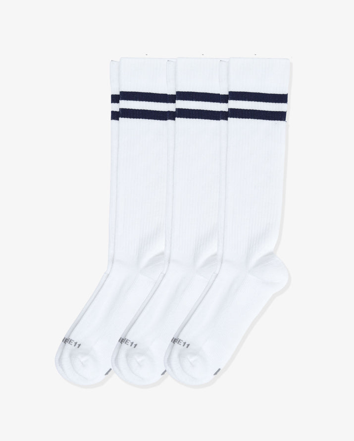 Mens 3 pack of over the calf socks. Three pairs of: white with navy.
