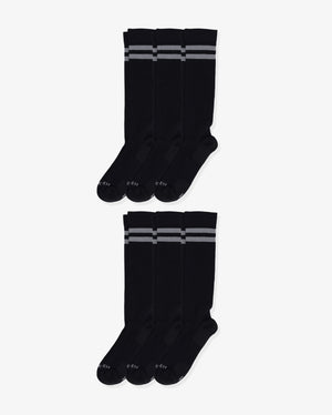 Mens 6 pack of over the calf socks. Six pairs of: black with grey.
