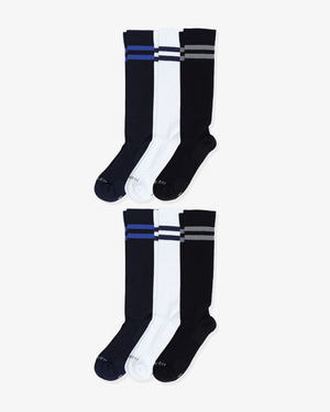 Mens 6 pack of over the calf socks. Two pairs of each: navy with royal blue, white with navy, black with grey.