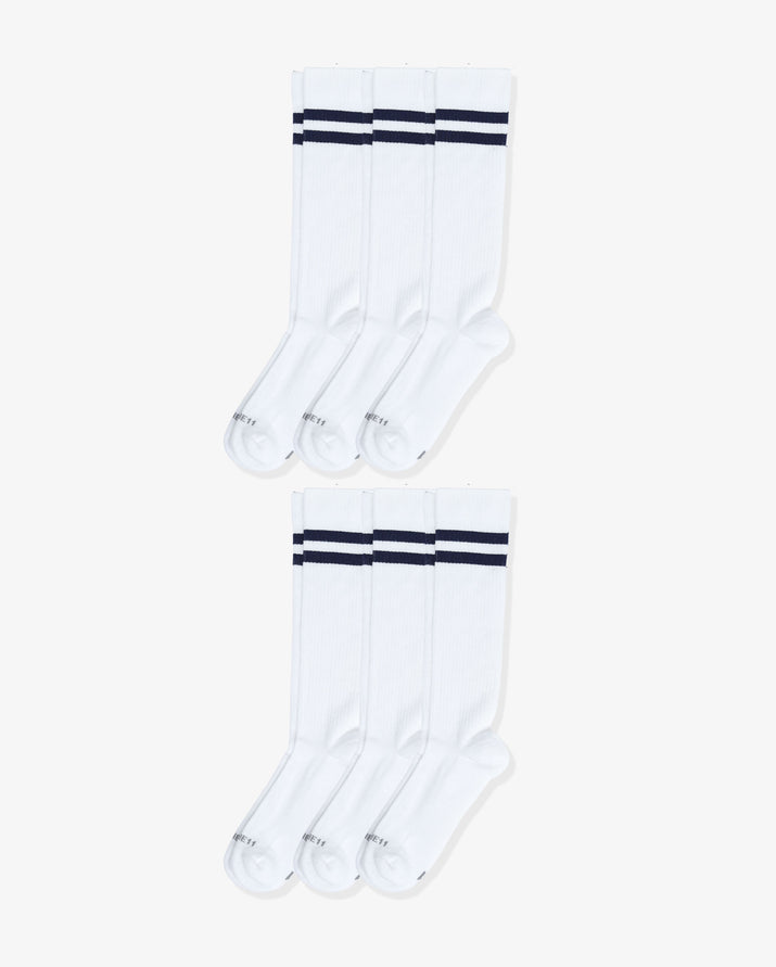 Mens 6 pack of over the calf socks. Six pairs of: white with navy.