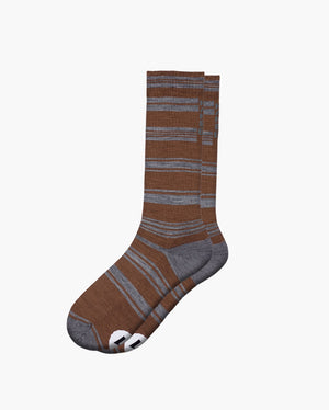 mens crew sock in cocoa laid flat