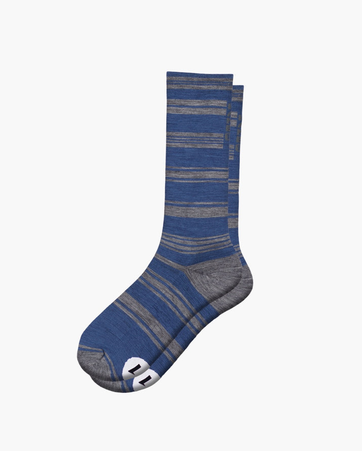 mens crew sock in yacht blue laid flat