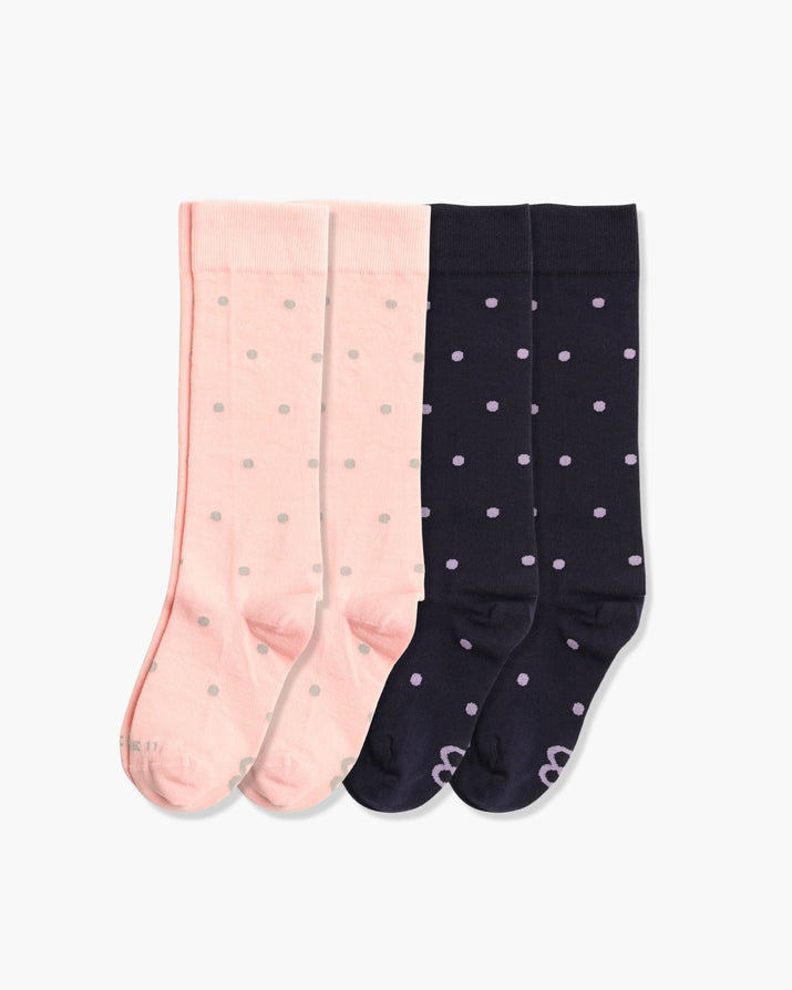 Womens 4 pack of crew socks. Two pairs of pink with grey dots and two pair of navy with purple dots.