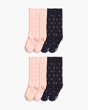 Womens 8 pack of crew socks. Four pairs of pink with grey dots and four pair of navy with purple dots.