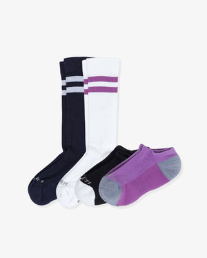 Women's athlete mix 4 pack. One of each: Cecile in navy and white, Rosie in black and purple.