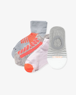 Women's athlete mix 4 pack. One of each:   Madison grey with neon orange, Meadow grey with neon orange, Brook white with neon orange, Lilla heather grey with white.