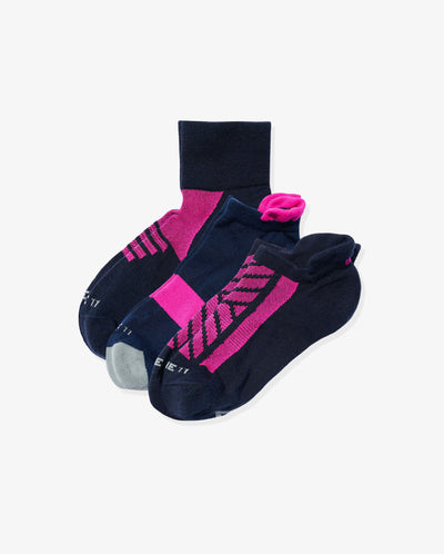 Women's athlete mix 3 pack. One of each: Madison navy with neon pink, Brook navy with neon pink, Meadow navy with neon pink.